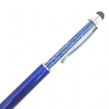 Sparkling ball point crystal pen with stylus - sapphire blue